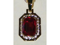 9ct Gold Plated Mini Ruby Pendant & Chain