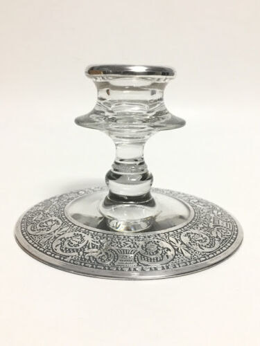 Antique Glass Candle Holder Sterling Silver Overlay on Base and Rim