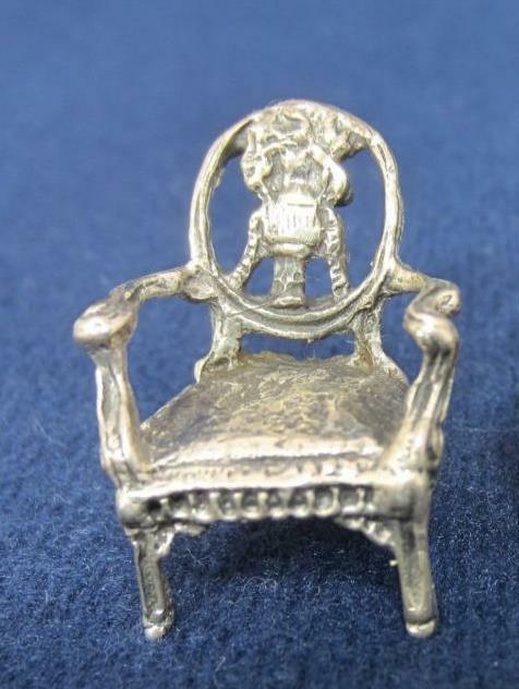 "*Miniature 925 Sterling Silver Arm Chair Elaborate Louis XV  1"" Continental"