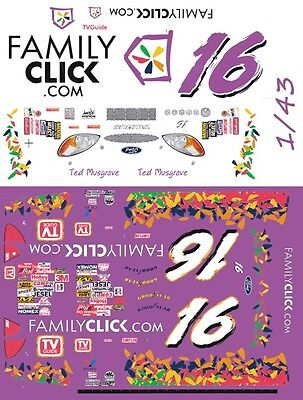 #16 Ted Musgrave Family Channel 2000 1/43rd Scale Slot Car Waterslide Decals