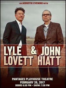 Lyle Lovett and John Hiatt Feb 28 Winnipeg Hard Copy Tixs