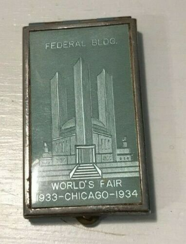 1933 - 1934  WORLDS FAIR COMPACT Chicago Federal Building Green colored