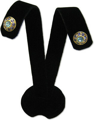 3h Black Velvet Earring Jewelry Display Top Stand Post Hooks Clip Ear A1b1