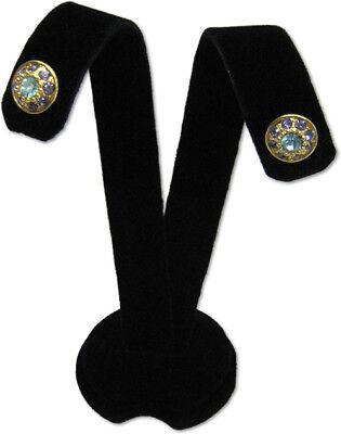 3h Black Velvet Earring Jewelry Display Top Stand Post Hooks Clip Ear A1b1