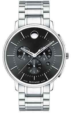 Movado Ultra Thin Chronograph 0606886 Black Dial Stainless Steel Men's Watch