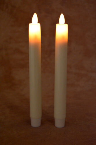 "Liown LightLi Moving Flameless Tapper Candles, 2 in pkg, Ivory Wax 8"" tall, NEW"