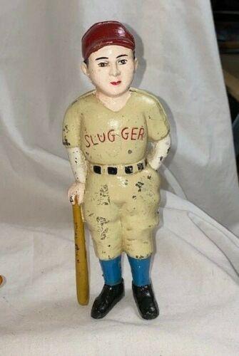 Vintage Cast Iron Slugger Baseball Player with Bat Coin Bank