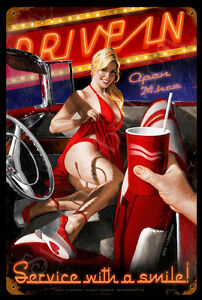 THINGS-GO-BETTER-WITH-HILDEBRANDT-METAL-SIGN-PINUP-SEXY-HAND-Signed-FREE-PRINT
