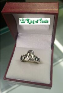 10k White Gold Claddagh Ring w/ diamond accents - King of Trade