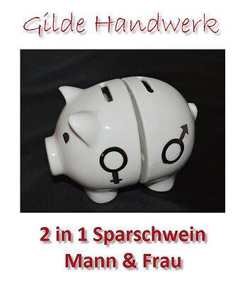 Gilde Sparschwein 2 in1 Male & Femal,Mann & Frau 2 teilig weiss,Selten!
