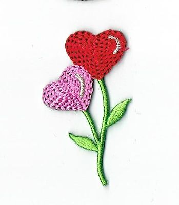 Red/Pink Heart Shaped Flowers - Iron on Applique/Embroidered (Flowers Heart Shaped)