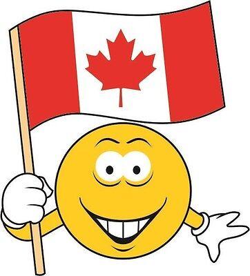 Aufkleber Smily mit Kanada Fahne Flagge Autoaufkleber Sticker (Autofahne Kanada)