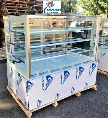 New 60 Bakery Showcase Donuts Bagels Pastry Dry Glass Display Case Led Lighting