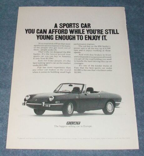"1971 Fiat 850 Spider Vintage Ad ""A Sports Car You Can Afford..."""