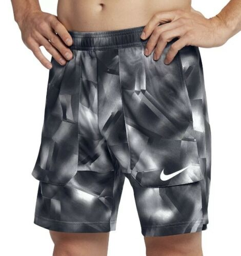 "NEW Nike NikeCourt Breathe 9"" Tennis Shorts Grey Black RF (854577-010)"
