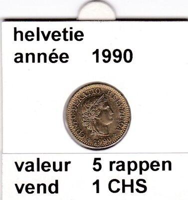 S 1) pieces suisse de 5  rappen de 1990   voir description