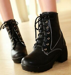 Womens-Punk-Emo-Rock-Lace-Up-Stitch-Detail-Chunky-Heel-Military-Ankle-Boots-676