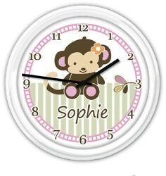 Personalized Monkey Nursery Baby WALL CLOCK Jacana Jungle Safari Girl Decor GIFT