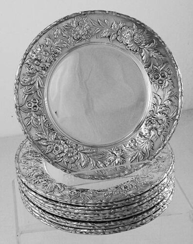 """Reousse by S.Kirk & Son Sterling Silver 6 1/4""""  Set of 12 Dessert Plates No.128F"""