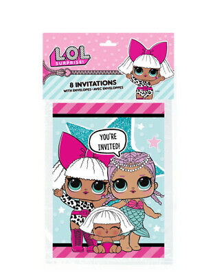 LOL SURPRISE INVITATIONS (8) ~ Birthday Party Supplies Cards Stationery Notes