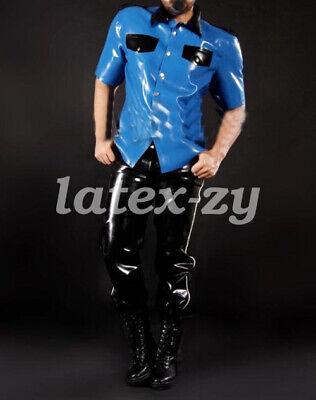 Latexanzug Kostüm Uniform Latex Tops Schwarz Pant Sports Police Suit 0.4mm - Schwarzen Latex Anzug Kostüm