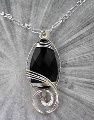 BLACK ONYX GEMSTONE PENDANT, NECKLACE WIRE WRAPPED STERLING SILVER