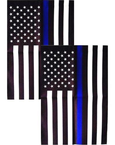 Thin Blue Line Garden Flag w/ Sleeve ~ 2-Pack ~ 12x18 ~ Blue Lives Matter Police