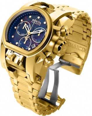Invicta Reserve Mens Bolt Zeus Magnum 52MM MOP Black Dual Dial SS Bracelet Watch