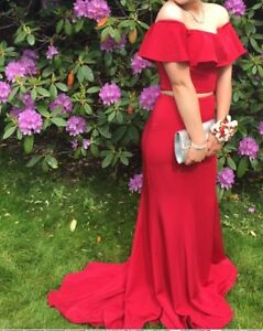 Red Two Piece Prom Dress