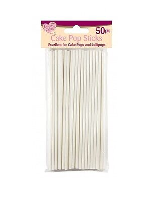 "50 X WHITE 6"" LOLLIPOP STICKS CAKE POPS SWEETS LOLLIES CRAFTS BAKING"