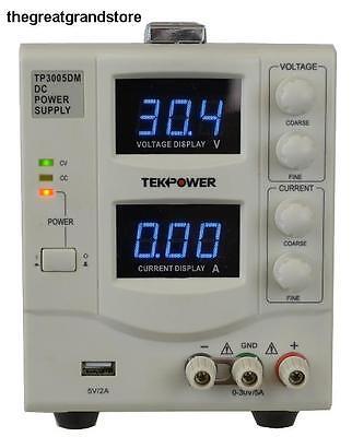 Tekpower Linear Adjustable Digital Dc Power Supply 30v 5a Usb Port Lab Grade Cv