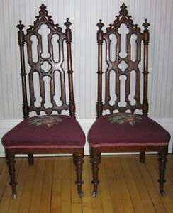 Antique 1840's Victorian hall chair set
