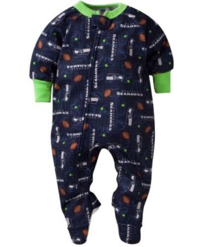 GERBER SEATTLE SEAHAWKS NFL Baby Blanket Sleeper Footed Navy Blue 2T & 3T - NWT