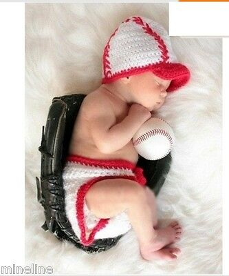 ★★★ NEU 2Tlg. Baby Fotoshooting Kostüm Kleiner Baseballspieler 0-6 Monate★★★Nr.B