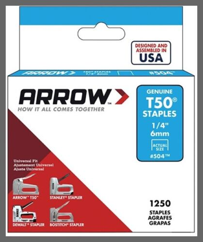 "504 T50 Staples - 1/4"" (6mm) - Steel - 1250/Pack Arrow Fastener"