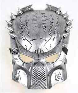 Alien Vs Predato Predator Warrior Costume Halloween Mask Adult's Day Mask Silver