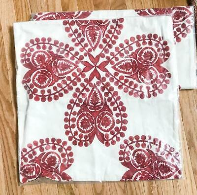Pottery Barn Jillian Pillow Cover Red 22x22 sq Embroidered Christmas Holiday