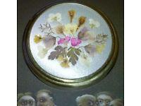 vintage pressed flowers brooch