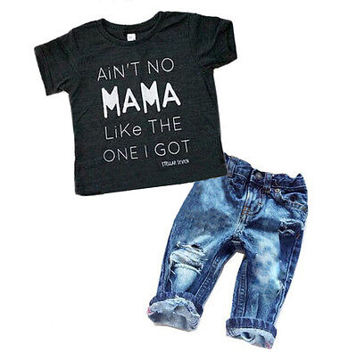 Newborn Toddler Kids Boys Clothes T Shirt Tee Top  Denim Pants Outfits Set Usa