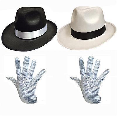 Michael Jackson Handschuh Kostüme (MICHAEL JACKSON Hut und Handschuh Kostüm Set - Weiß Schwarz Trilby Billie Jean)