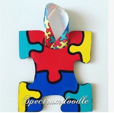Autism Puzzle Piece Wood Ornament/ESE/Teacher/Parent Christmas Handmade - Puzzle Piece Ornaments