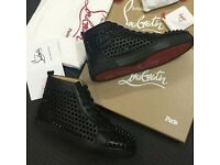 Christian Louboutin Black Calfskin Leather Spiked High Top Red Bottom Sneakers