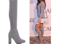 Brand new grey high kneed boots