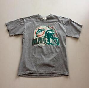 Vintage Miami Dolphins T-Shirt Rare NFL 90s Grey