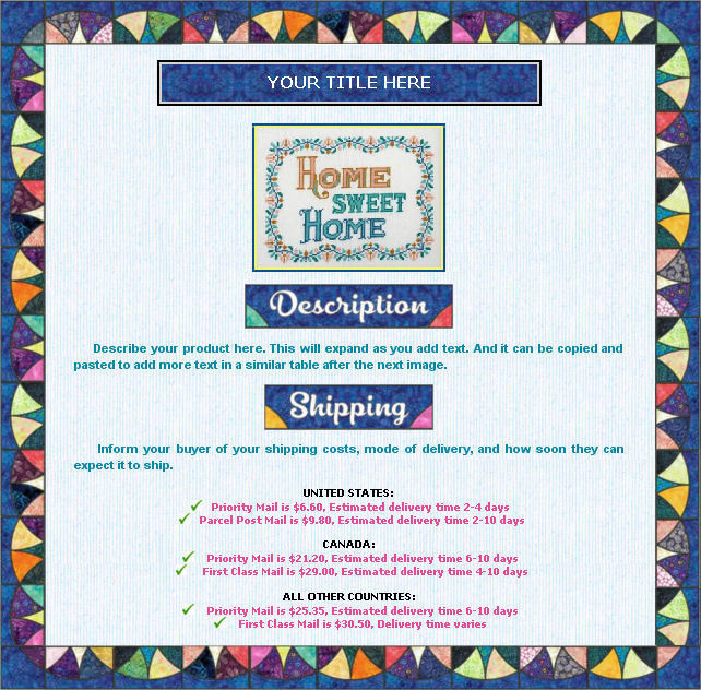Auction Template Quilt Border Design Free Shipping Polybull