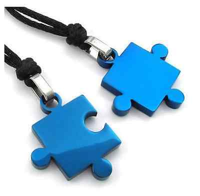 His and Hers Stainless Steel Matching Love Puzzle Couple Pendant Necklaces Blue