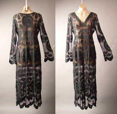 Victorian Lace Gown (Black Embroidered Sheer Lace Victorian Goth Goddess Gown Maxi 265 mv Dress S M L )