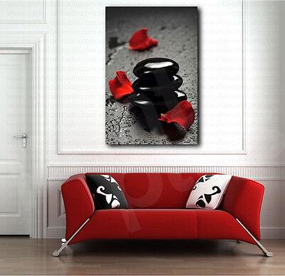 Black Spa Stones And Red Petals Canvas Art Poster Print Wall Decor