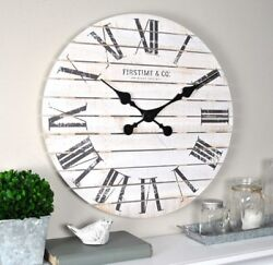 18 Farmhouse Clock Wall Mount Coastal Living Room Distressed Modern Large White