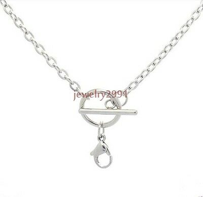 """3mm 16-32"""" Toggle Silver Chain Necklace Stainless Steel Floating Locket Chain"""